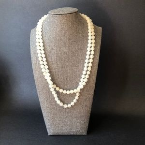 Jewelry - Vintage Opaque White Agate Stone 2 Strand Bead